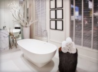 Bathroom White Decorations Design with White Tile Marbel Ideas