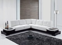 Cozy Living Room Interior Design With White L Shape Leather Sofa Furniture Ideas