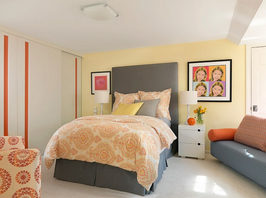 Exquisite Use of Grey, Yellow and Orange in the Bedroom