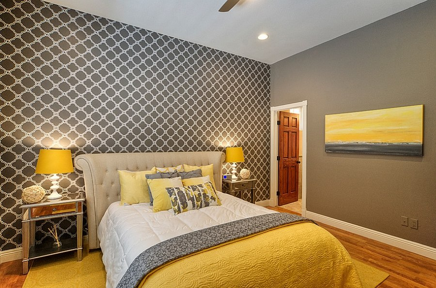 Modern and Luxury Yellow and Grey Bedroom Decorating Ideas