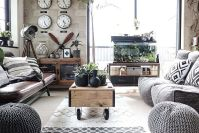 Modern Industrial Living Room with Monochromatic Color Scheme and Coffee Table on Wheels