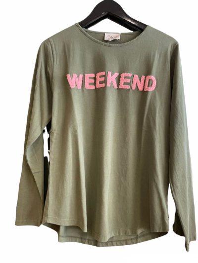 lulu's love t-shirt weekend army/rose