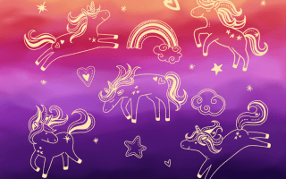 Sunset unicorn doodles