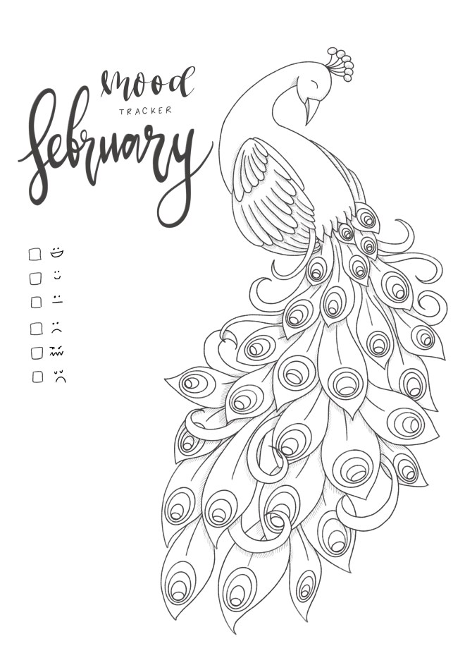 Peacock February Mood Tracker Printable