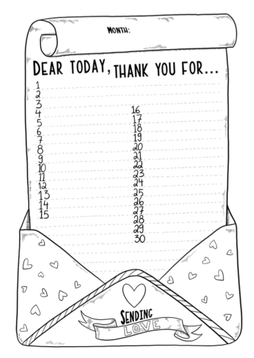 Free printable 30 day gratitude log for journal and bujo journal