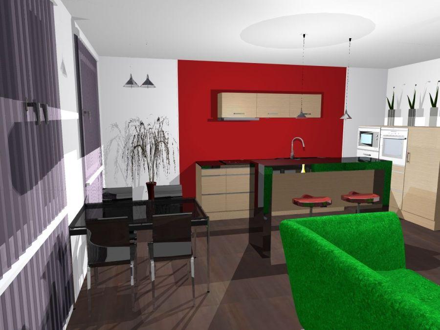kuchyně černý lesk a červená