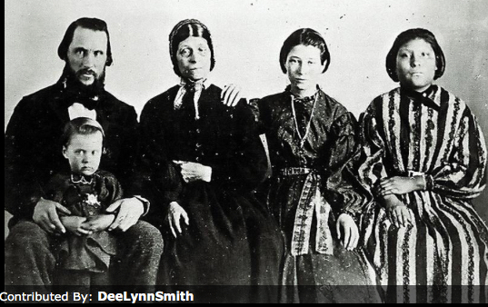 Family of Deborah Lamoreaux Leithead, husband James Leithead, and their children including Nellie (Waddie) on the right
