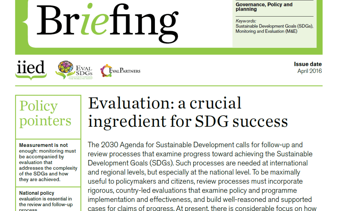 Briefing Paper 1 – Evaluation: a crucial ingredient for SDG success