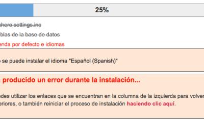 Error en la instalación: no se puede instalar el idioma español