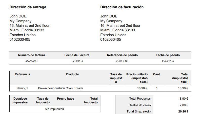Añadir datos de empresa en la cabecera de la factura prestashop 1.7