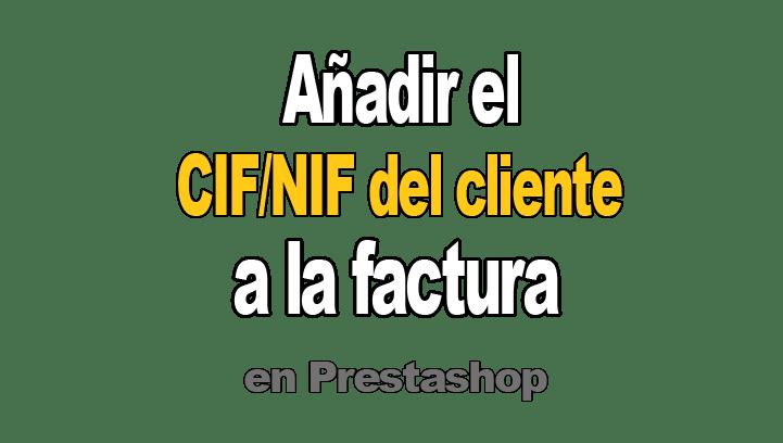 Añadir CIF del cliente a factura en Prestashop