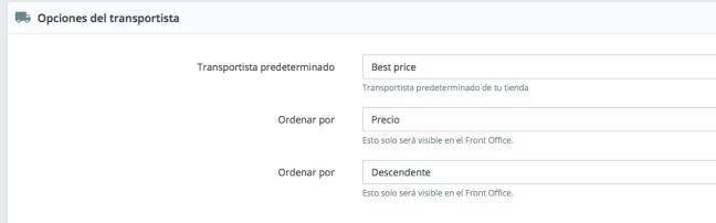 Configurar preferencias de envío en prestashop