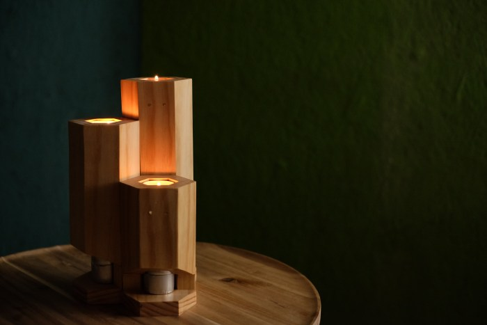 DIY tealight candle holders with built in storage