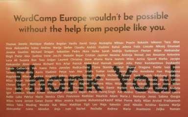 Volunteer HQ board with volunteers names