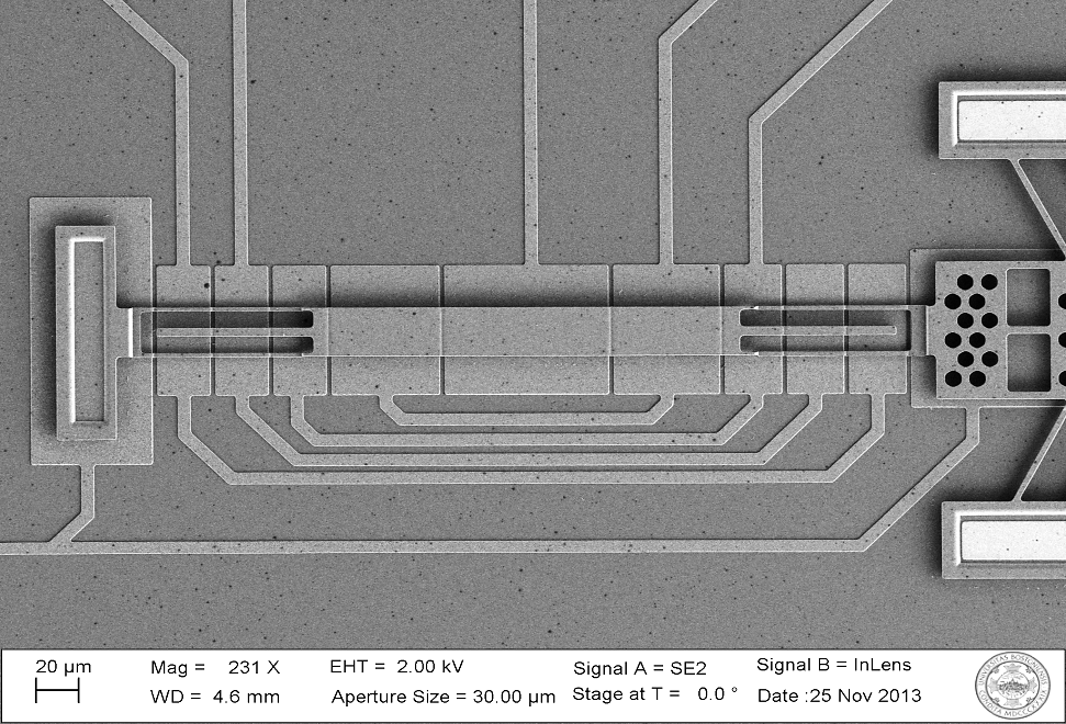 SEM Image of Single Deformable Mirror with Chevron Actuator