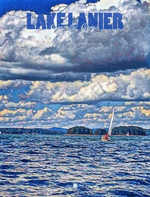 Lake Lanier Poster - City Series - Gainesville, Georgia - Original Art by Chip Evans