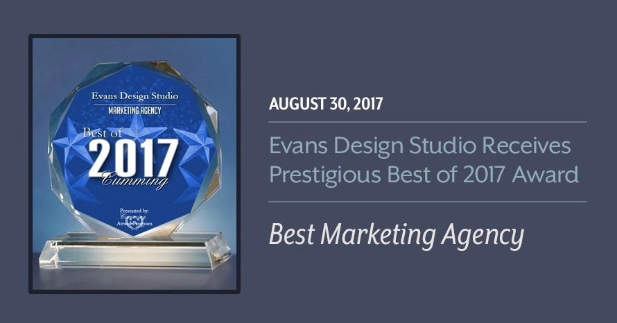 2017 Best Marketing Agency Award Evans Design Studio