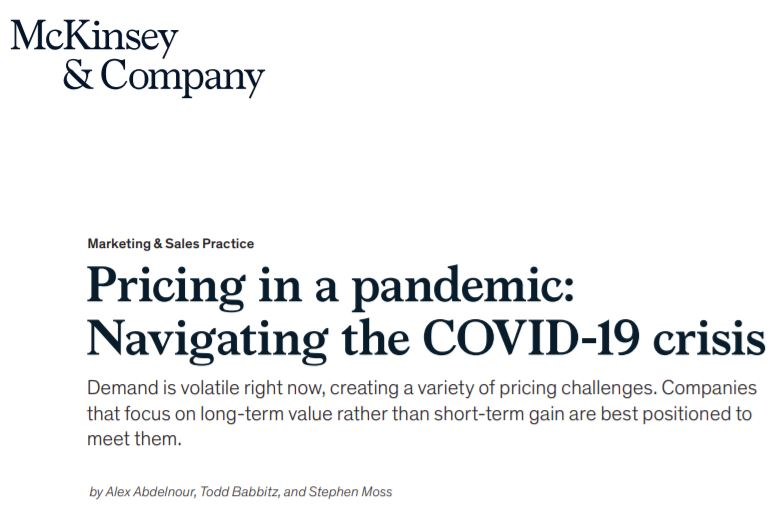 Pricing and the COVID-19 Crisis