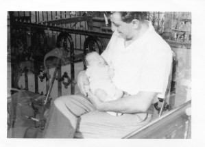 My father, Sal Frank, holding me as a new-born circa 1953. Miss you dad, walking for you Friday.