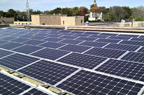 Solar panels on water plant