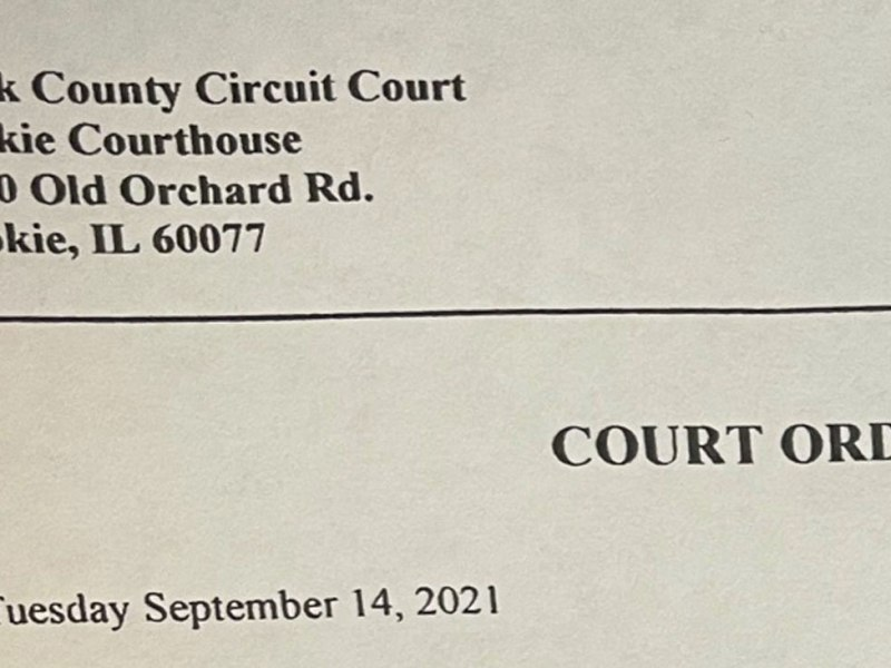 At least two Evanston restaurants on Sept. 20 received documents purporting to be Court Orders issued in the names of Cook County Circuit Court judges.