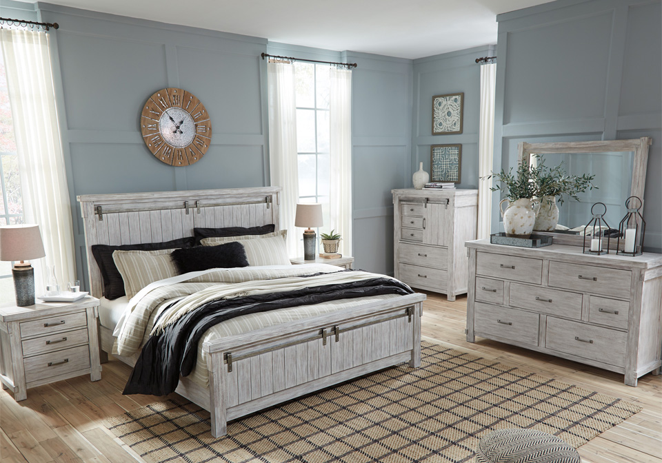 brashland white queen panel bedroom set