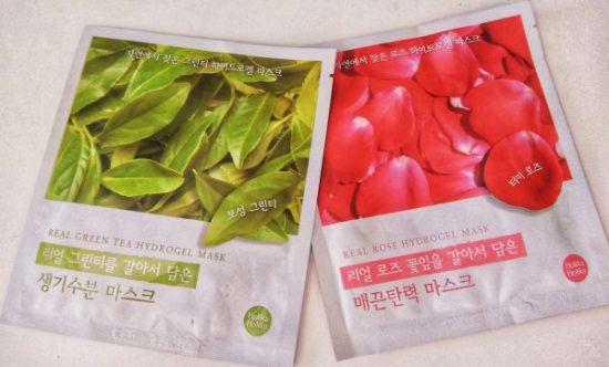 Holika Holika, mascarillas de hidrogel: Real Green Tea y Real Rose
