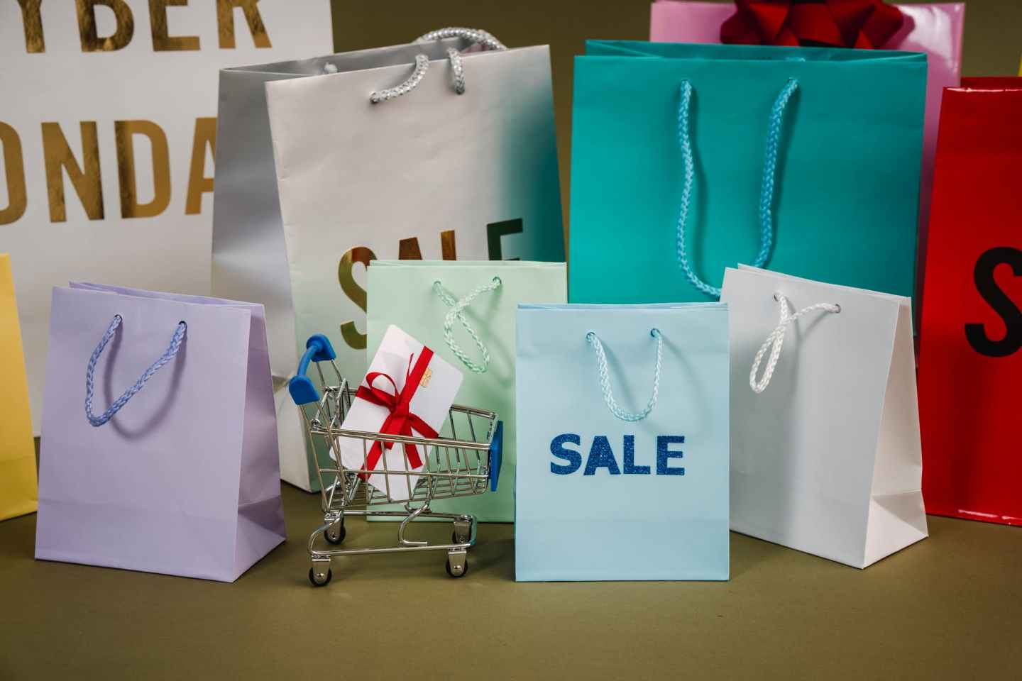 love paper bags with sale text