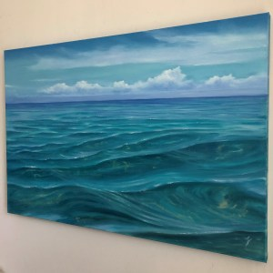 Large original tropical water painting - Embracing Tranquility