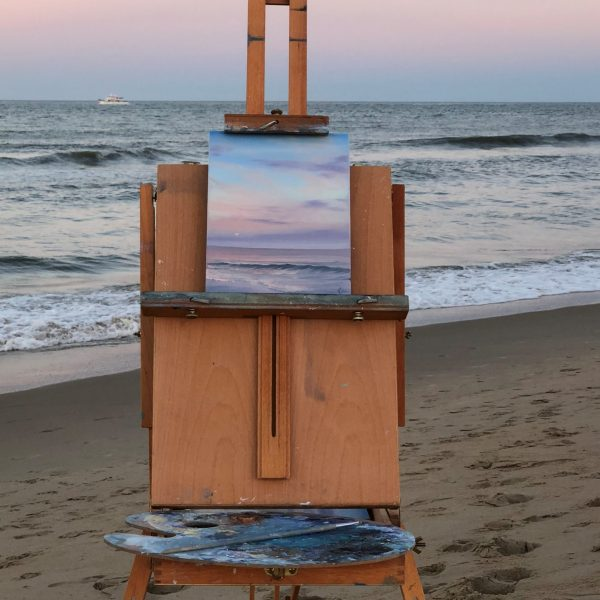 Original plein air coastal landscape painting - Moonrise