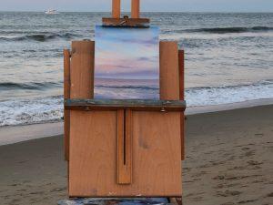 Original plein air coastal landscape painting - Moonrise