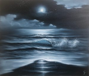 Full Moon over the Ocean Painting - Silver Night