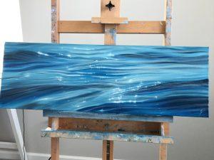 Glittering Tides - original ocean painting oil on canvas