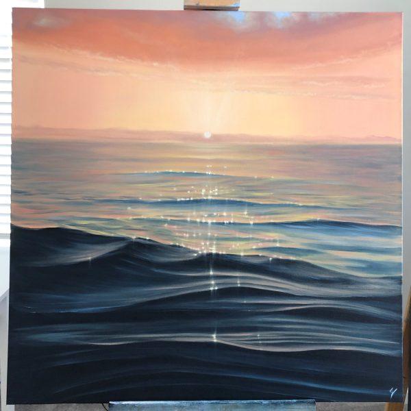 Original Coastal Sunset painting