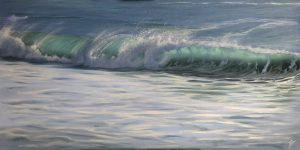 Original Panoramic Oil Painting of Ocean Waves