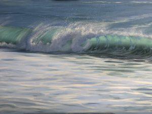 Original Panoramic Oil Painting of Ocean Waves