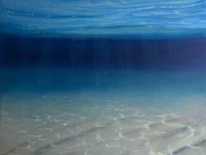 Original Blue Oil Painting - Underwater Blues