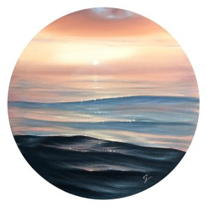 Original sunset over the ocean painting
