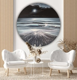 Chasing the Light - original full moon over the ocean painting