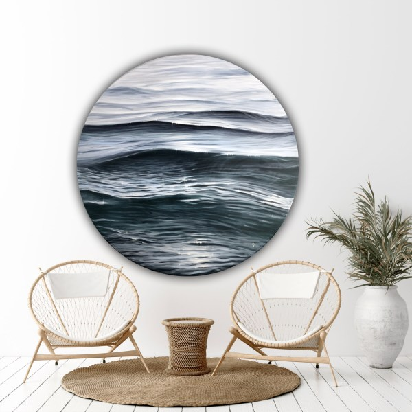 Silver ripples - large realistic water painting on round canva