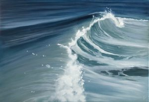 Rise and Fall - original ocean wave painting in blue and gray