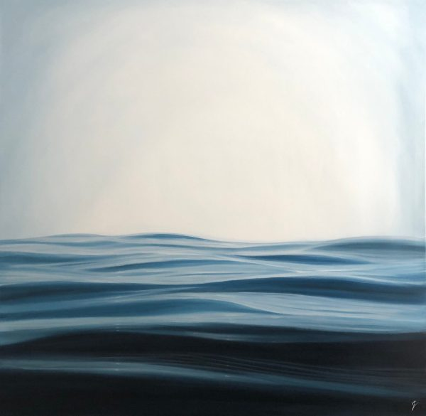"""Large original contemporary seascape painting """"Ocean Between Us"""", oil on canvas 48x48""""."""