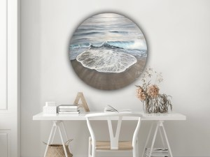 Pearl Tide - original ocean wave painting on round canvas