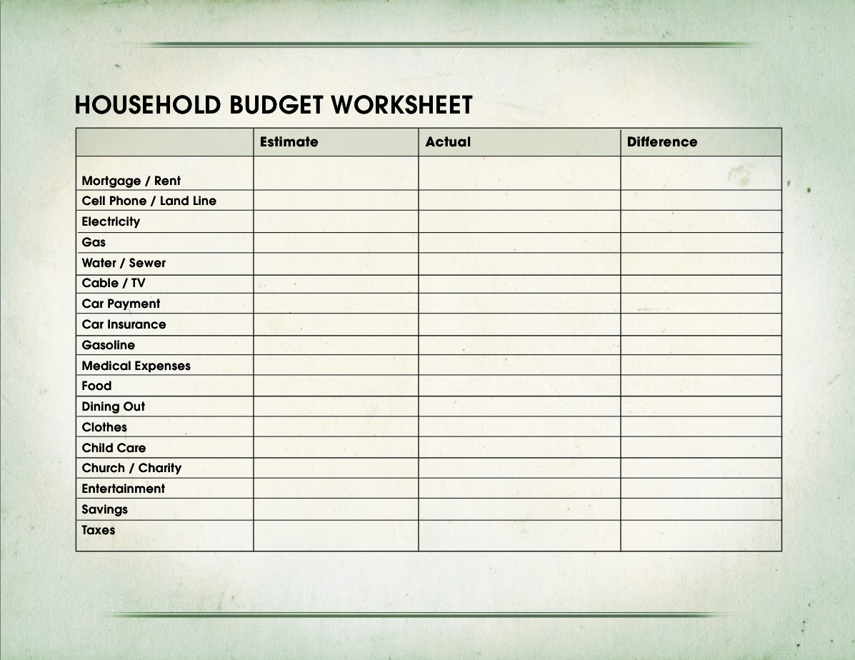 7 Budget Worksheet