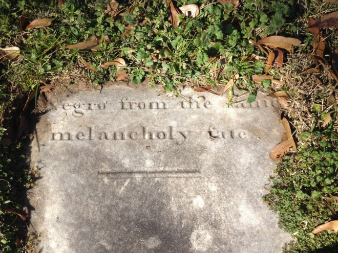 """Negro from the same melancholy fate"", a headstone in the American Cemetery in Natchitoches, LA"
