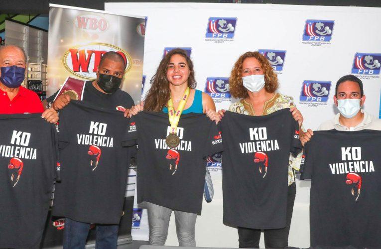 La OMB reconoce a boxeadores y demás participantes que hicieron campaña en contra de la violencia de género
