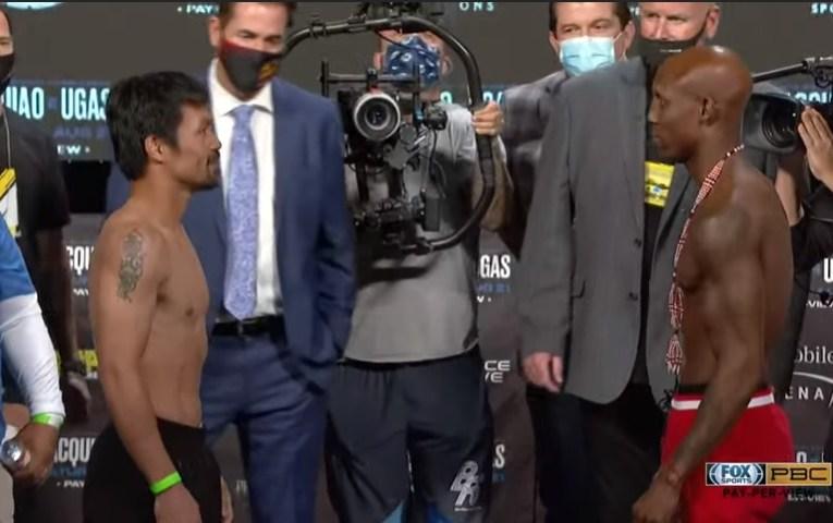 Manny Pacquiao y Yordenis Ugas dan el peso para mañana