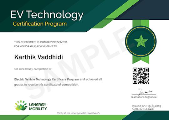 EV Technology Certification Program by Lenergy