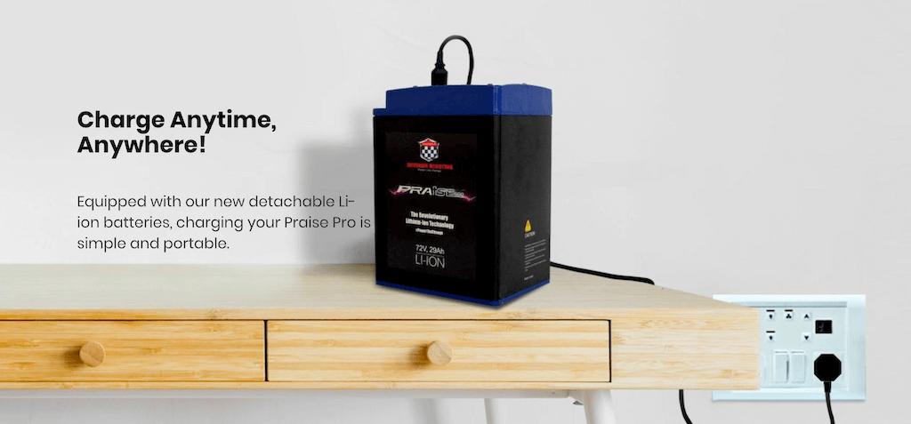 Okinawa PraisePro detachable Li-ion batteries