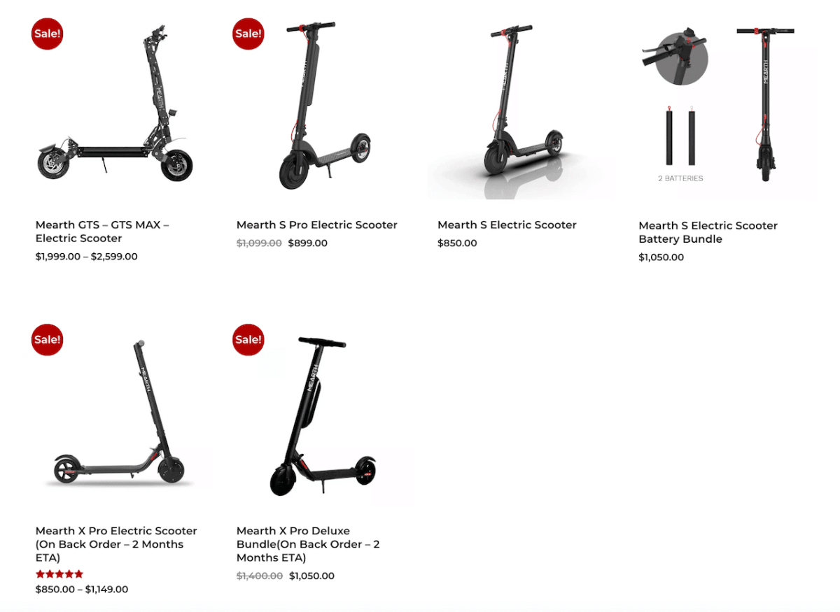 Mearth's Commuter Scooter Range